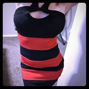Bebe Red/Black Striped Bodycon Dress M